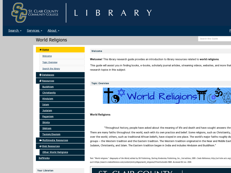 world religions research guide homepage